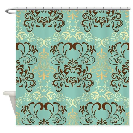 Teal Floral Shower Curtain By Creativeconceptz