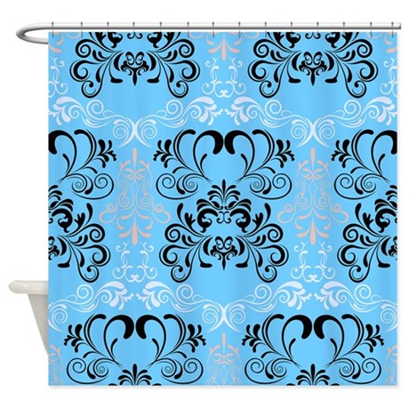 Blue Floral Shower Curtain By Creativeconceptz