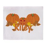 Halloween Pumpkin Riley Throw Blanket
