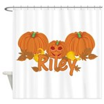 Halloween Pumpkin Riley Shower Curtain