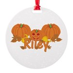 Halloween Pumpkin Riley Round Ornament