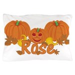 Halloween Pumpkin Rose Pillow Case