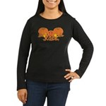Halloween Pumpkin Rose Women's Long Sleeve Dark T-