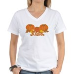 Halloween Pumpkin Rose Women's V-Neck T-Shirt