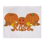 Halloween Pumpkin Rose Throw Blanket