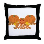 Halloween Pumpkin Rose Throw Pillow