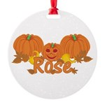 Halloween Pumpkin Rose Round Ornament