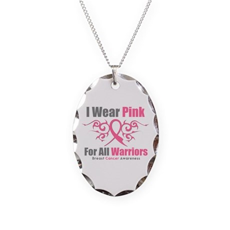 Pink Ribbon Tribal - Warriors Necklace Oval Charm
