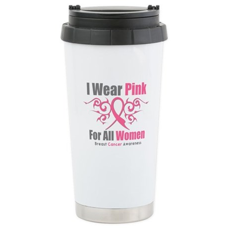 Pink Ribbon Tribal - Women Ceramic Travel Mug