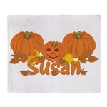 Halloween Pumpkin Susan Throw Blanket