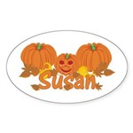 Halloween Pumpkin Susan Sticker (Oval)