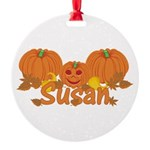 Halloween Pumpkin Susan Round Ornament