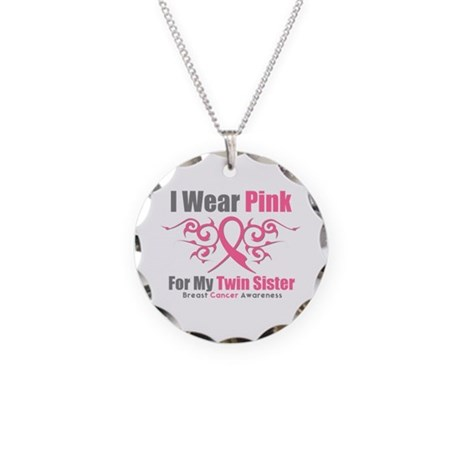 Pink Ribbon Tribal - Twin Sister Necklace Circle C