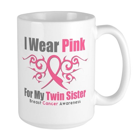 Pink Ribbon Tribal - Twin Sister Large Mug