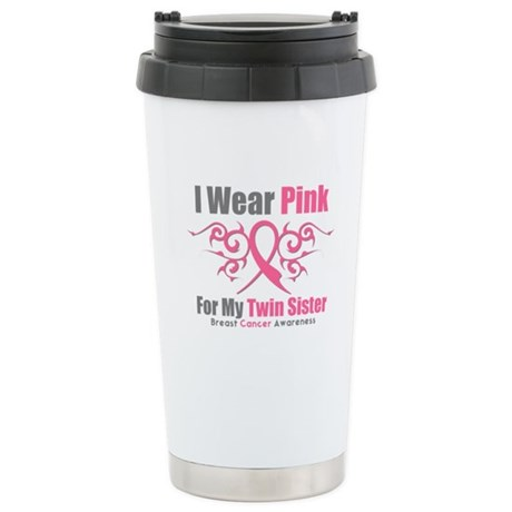 Pink Ribbon Tribal - Twin Sister Ceramic Travel Mu
