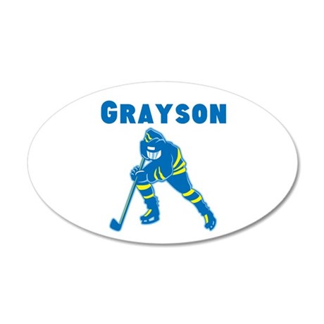 Personalized Hockey 35x21 Oval Wall Decal