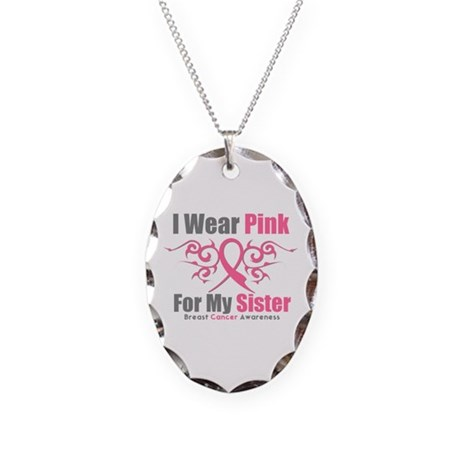 Pink Ribbon Tribal - Sister Necklace Oval Charm