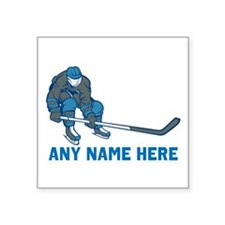 "Personalized Hockey Square Sticker 3"" x 3"""