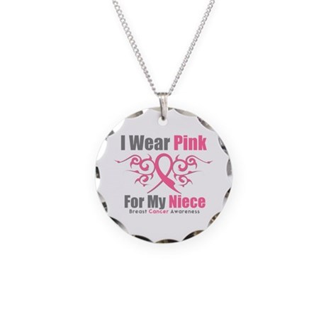 Pink Ribbon Tribal - Niece Necklace Circle Charm