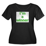 I'm a winner Women's Plus Size Scoop Neck Dark T-S