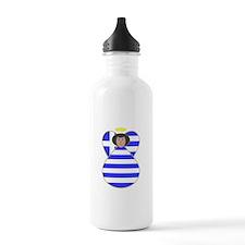 Greek Flag Angel Black Hair Water Bottle