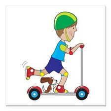"Scooter Boy Square Car Magnet 3"" x 3"""