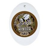 USN Navy Seabees Camo Roped Ornament (Oval)