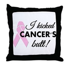 I kicked Cancers butt Throw Pillow