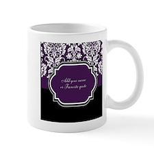 Customizable Purple Damask Small Mug