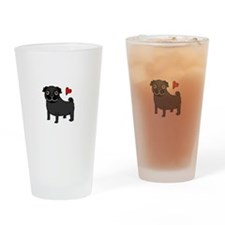 PugBlack.bmp Drinking Glass