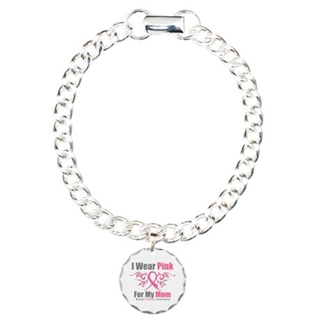 Pink Ribbon Tribal - Mom Charm Bracelet, One Charm