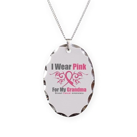 Pink Ribbon Tribal - Grandma Necklace Oval Charm