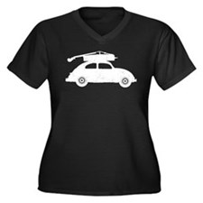 Double Bass On Car Women's Plus Size V-Neck Dark T