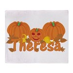 Halloween Pumpkin Theresa Throw Blanket