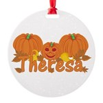 Halloween Pumpkin Theresa Round Ornament