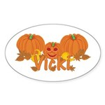 Halloween Pumpkin Vicki Sticker (Oval)