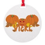 Halloween Pumpkin Vicki Round Ornament