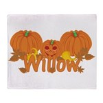 Halloween Pumpkin Willow Throw Blanket