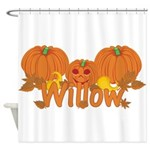 Halloween Pumpkin Willow Shower Curtain