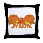 Halloween Pumpkin Willow Throw Pillow