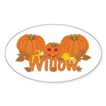 Halloween Pumpkin Willow Sticker (Oval)