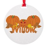 Halloween Pumpkin Willow Round Ornament