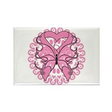 Butterfly Ribbon Breast Cancer Rectangle Magnet (1