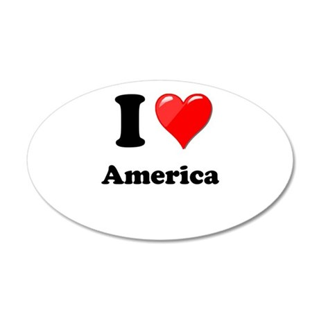 I Heart Love America 35x21 Oval Wall Decal