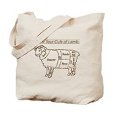 Dark Brown Print / Know Your Cuts of Lamb Tote Bag