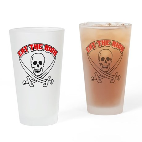 Jolly Roger: Eat The Rich! Drinking Glass