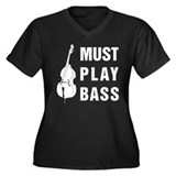 Must Play Bass Women's Plus Size V-Neck Dark T-Shi