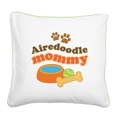 Airedoodle Mommy Square Canvas Pillow
