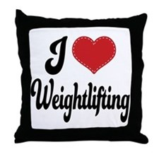 I Love Weightlifting Throw Pillow