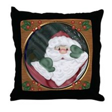 Santa Peeking Through Window Throw Pillow